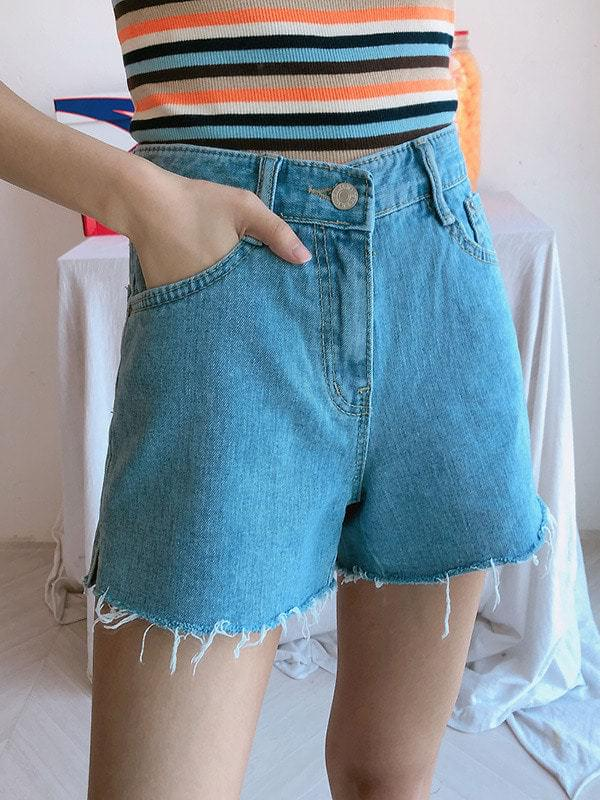 3017 short-sleeved denim shorts