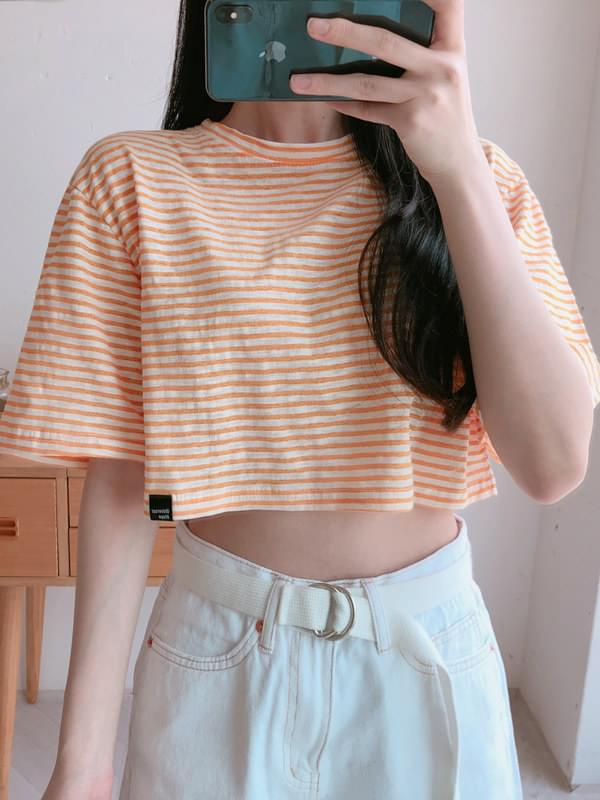 Two-tone crop short sleeve