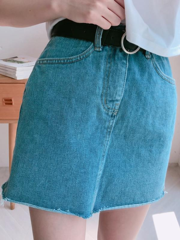 p127 cut denim skirt