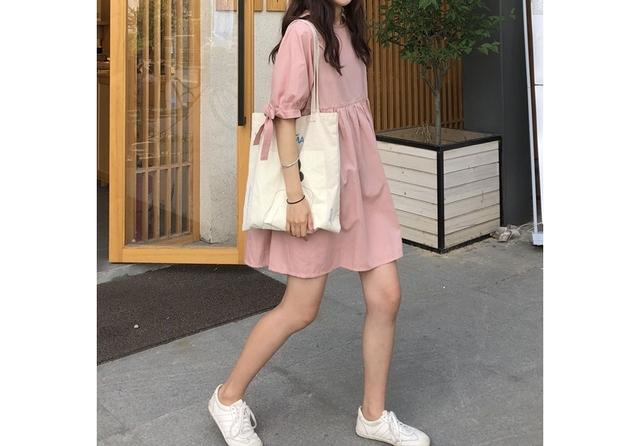 Pink ribbon sleeve point Mini Dress