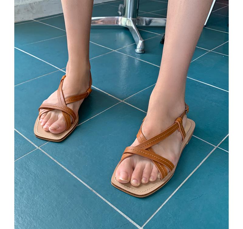 cowhide stitch sandal_W