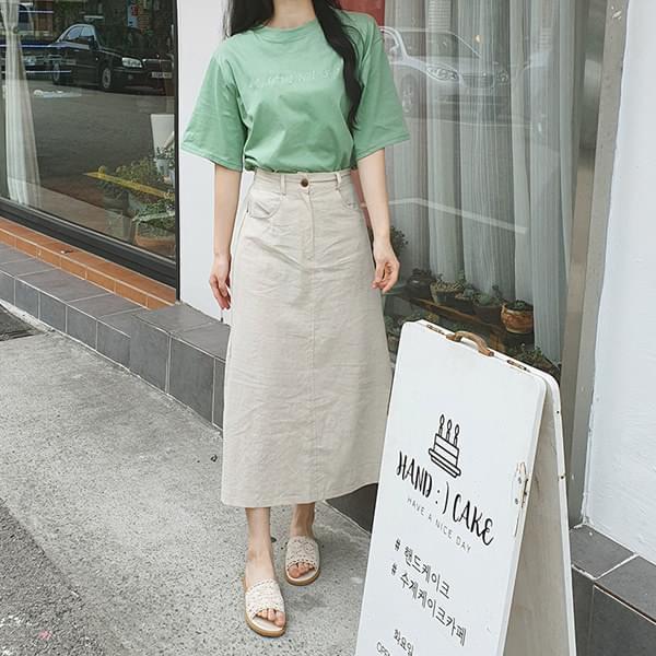 Simple Basic Banding Long Skirt