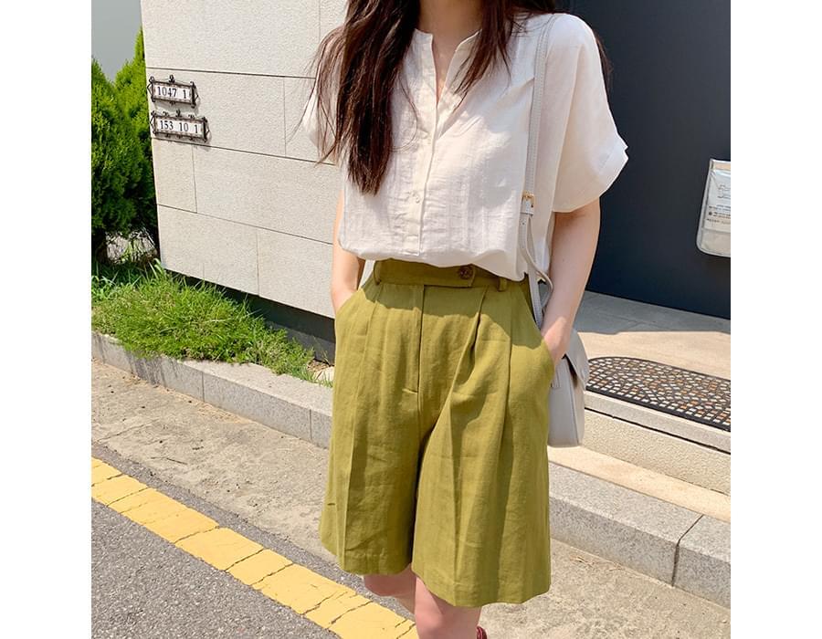 Simple wing sleeve blouse_N