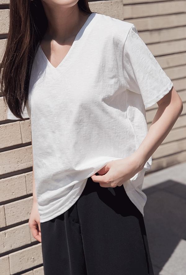 Cotton V-neck Short Sleeve Polo Shirt