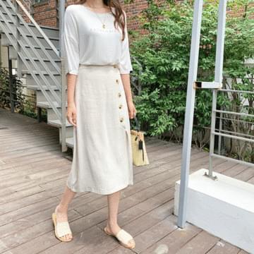 Lattice linen long skirt