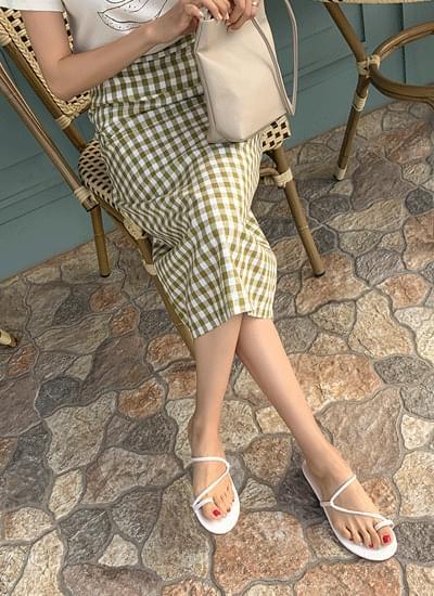 Cute linen checked banding skirt