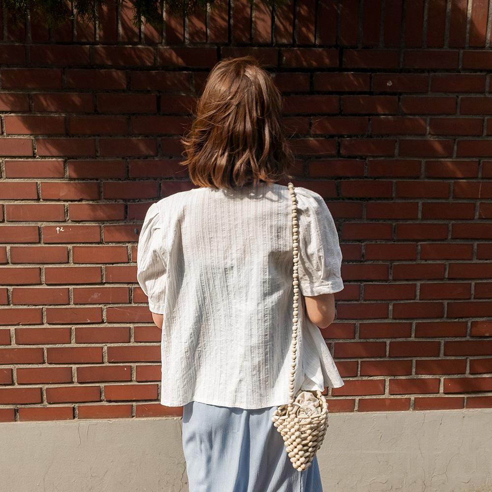 diagonal line button blouse