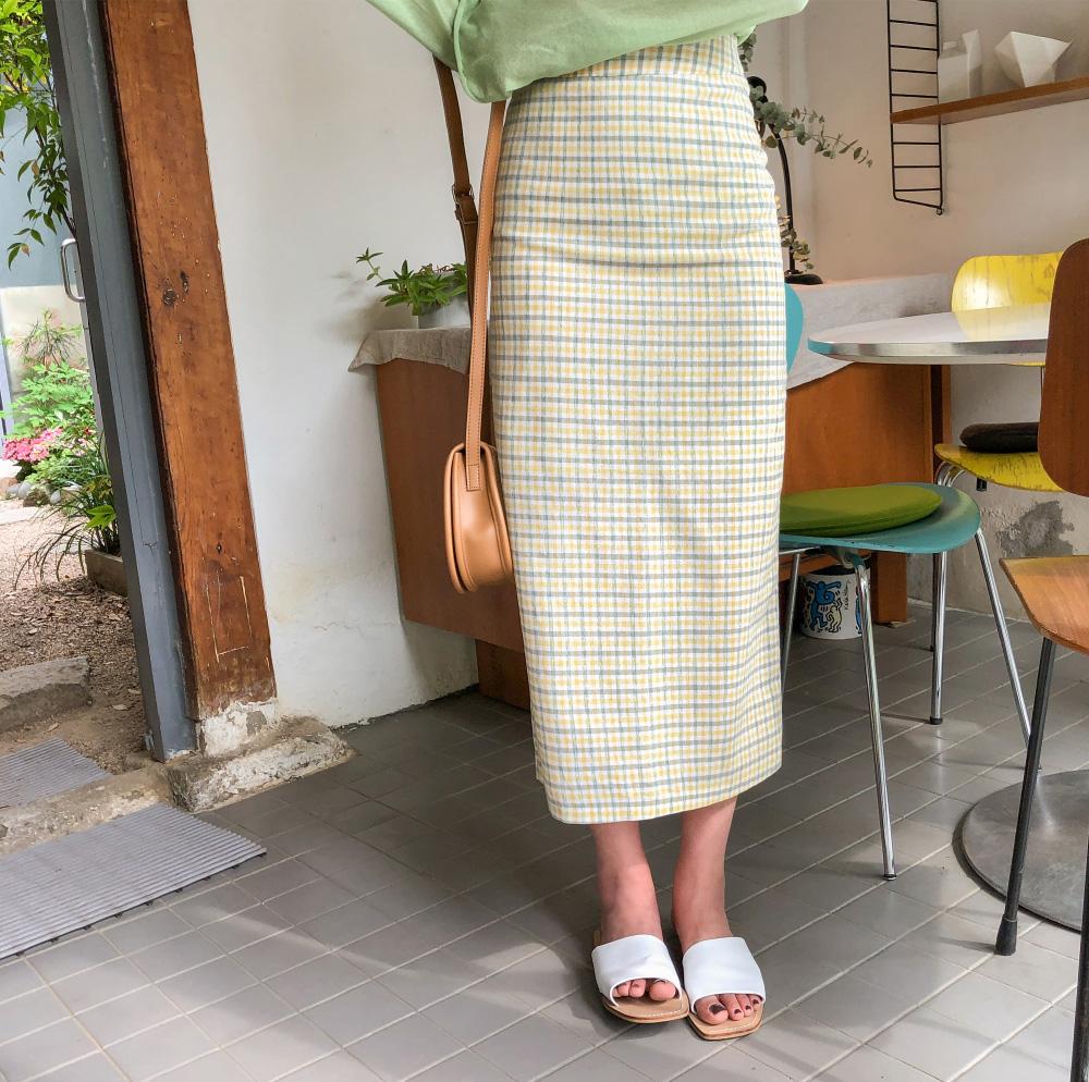 sensual h-line check slit skirt