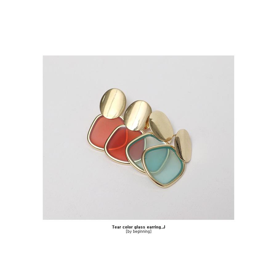 Tear color glass earring_J