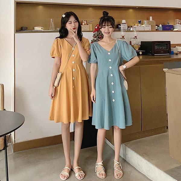 V-neck and other trim dress