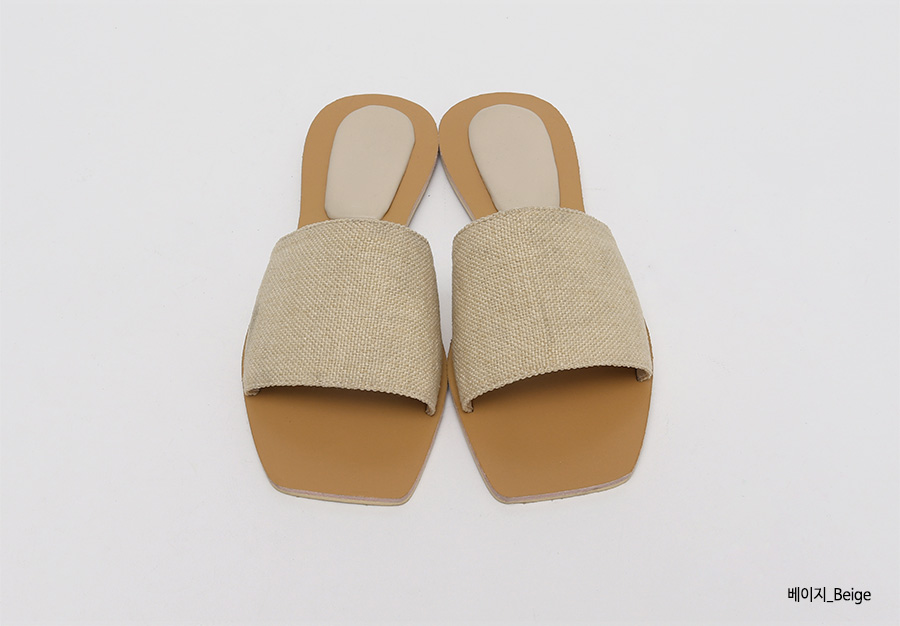 Beige strap slide slipper_K