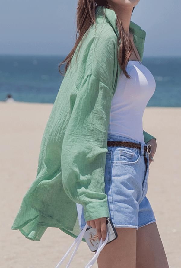 Cotton basic long-sleeved shirt