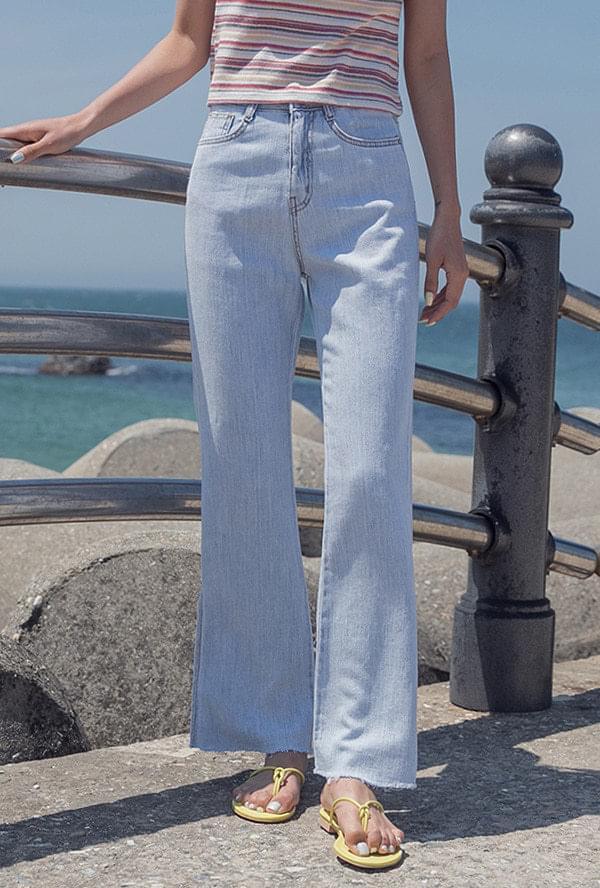 Linen denim pants