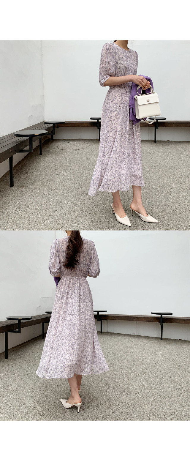 Laden Flower Button Long Dress