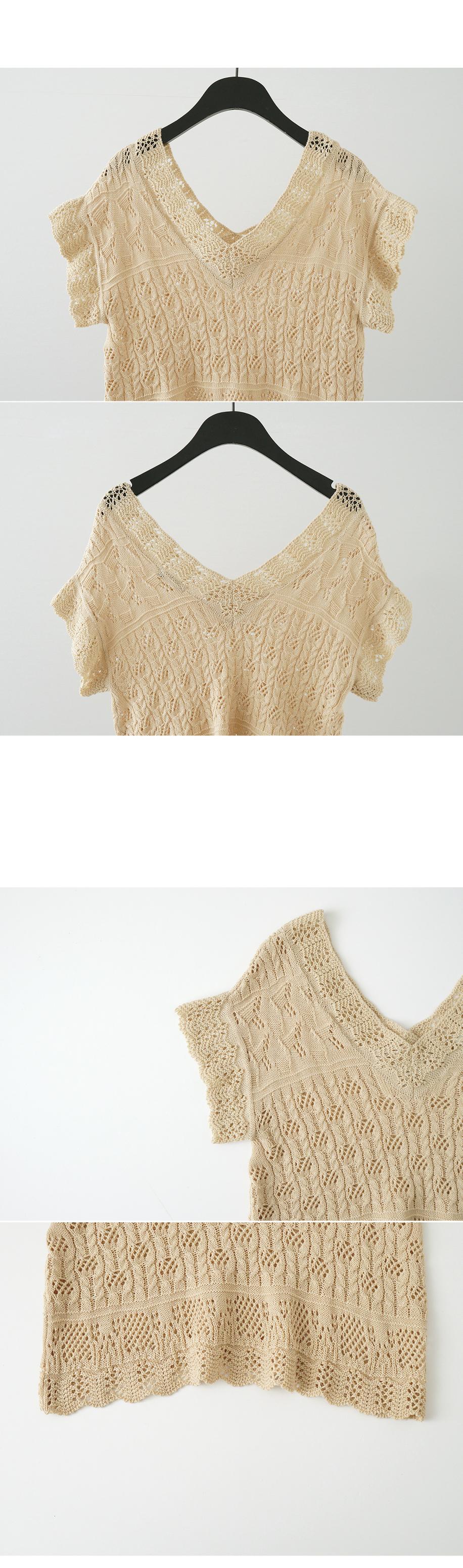 ethnic V-neck half knit