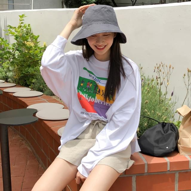 Natural cutting over fit print tee-tee