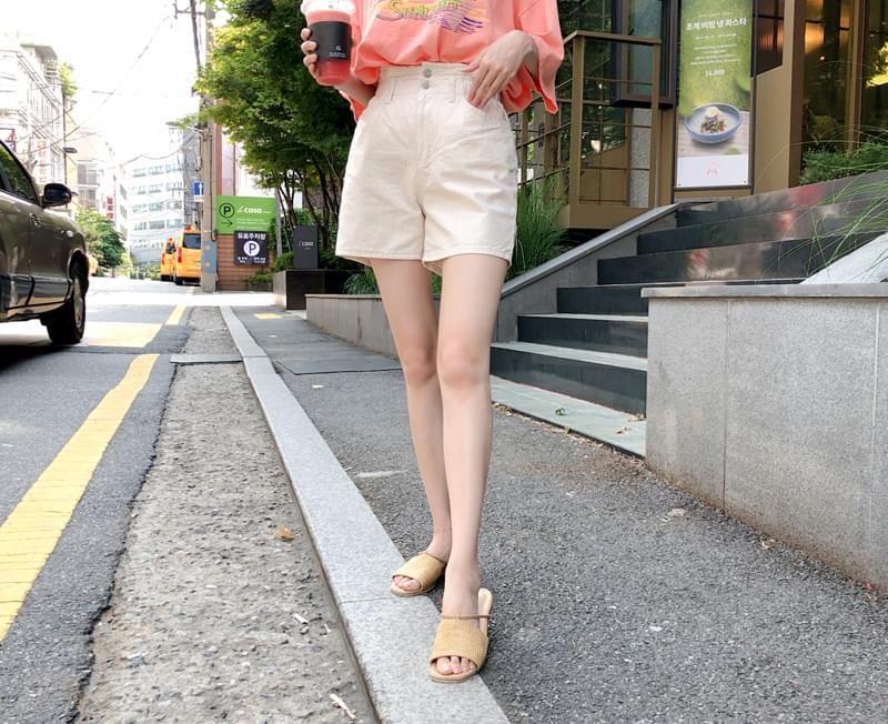 Two-button linen pants