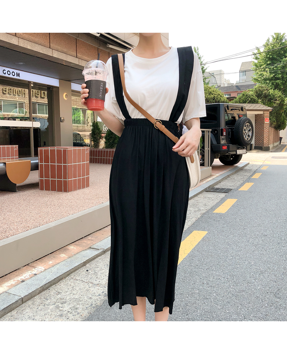 Simple Daily Tea + Suspenders Dress SET