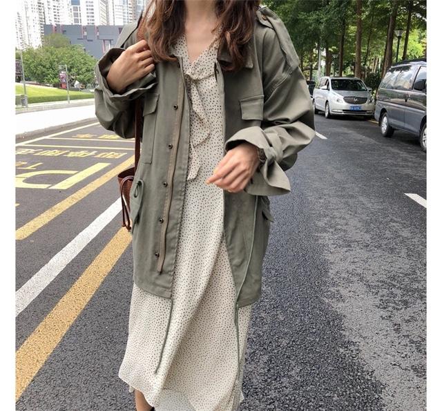 Ribbon pocket Khaki jacket jacket