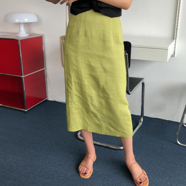 Colorful banding linen long skirt