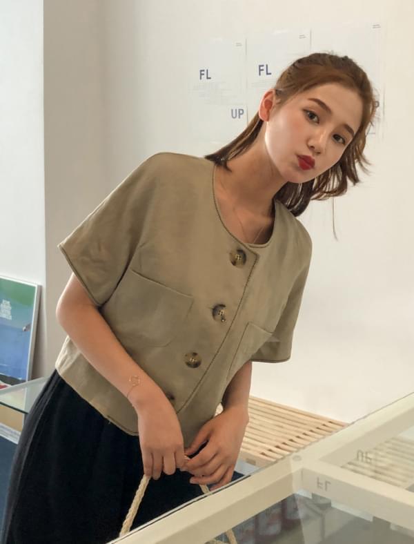 2-way linen short jacket