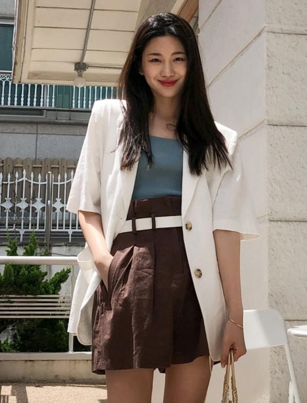 linen formal half sleeve jacket