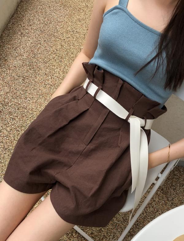 linen pintuck belt shorts