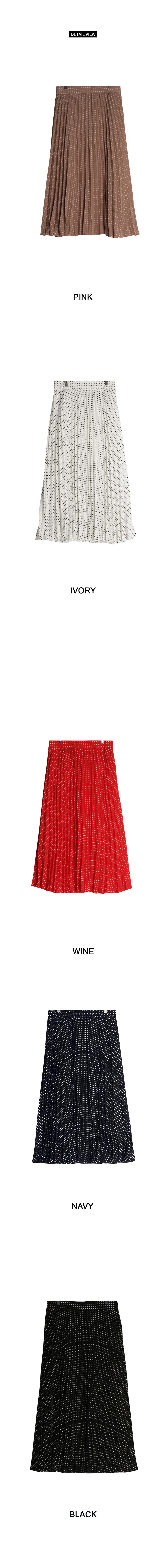 Dot wave pleated skirt