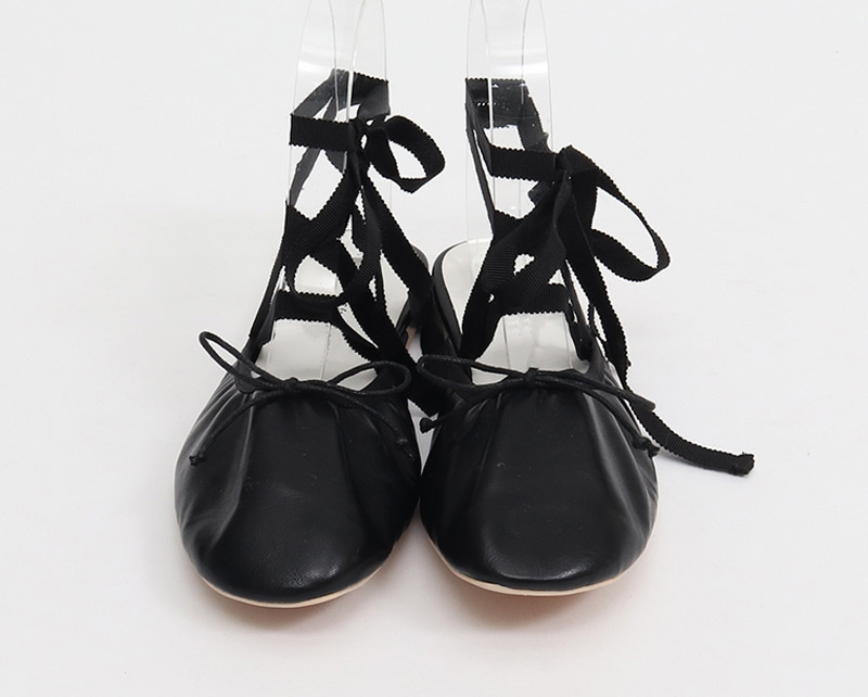 Black strap ribbon bloafer_C