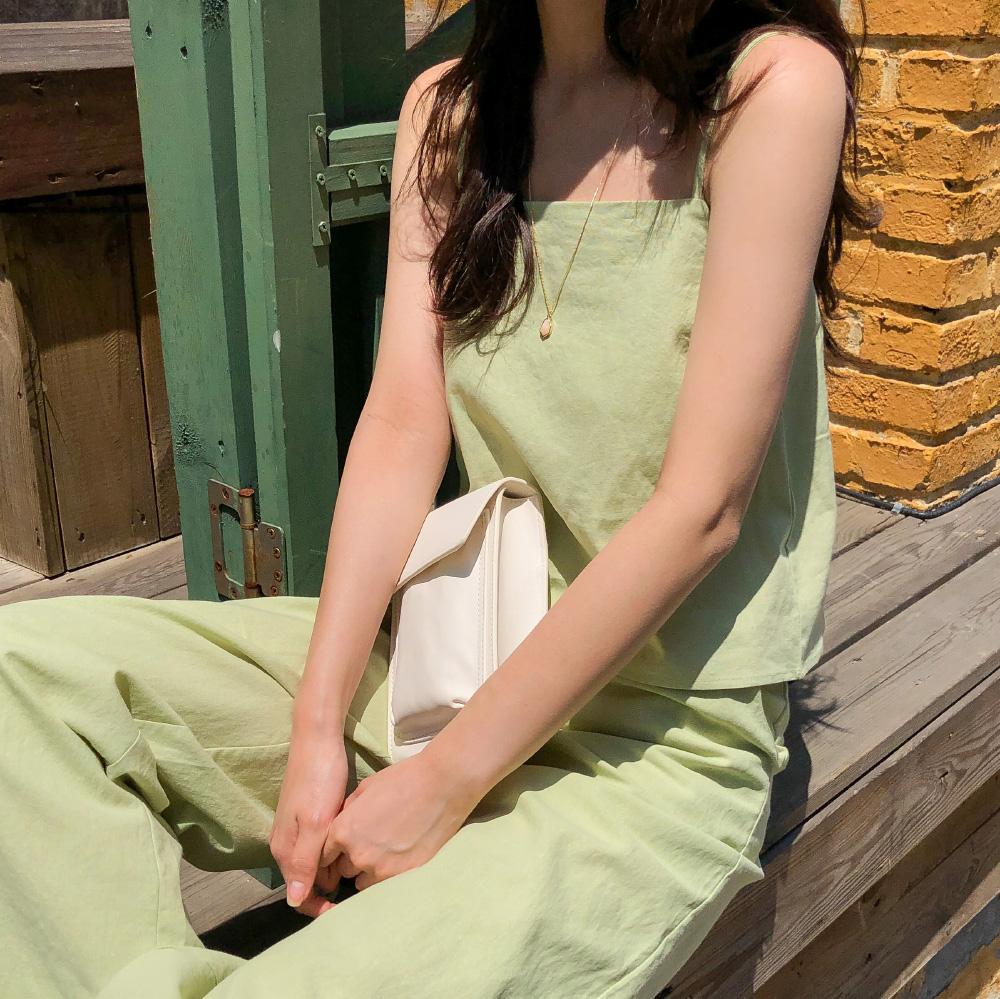 square linen crop sleeveless