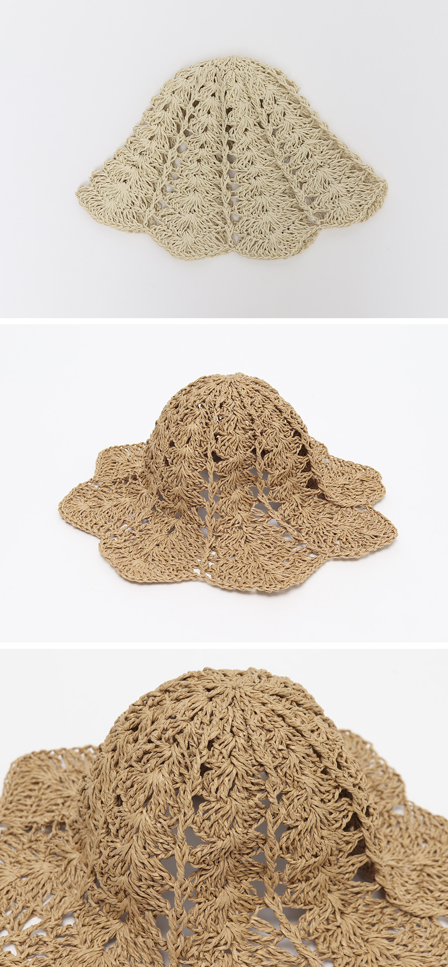 Summer straw bucket hat_J