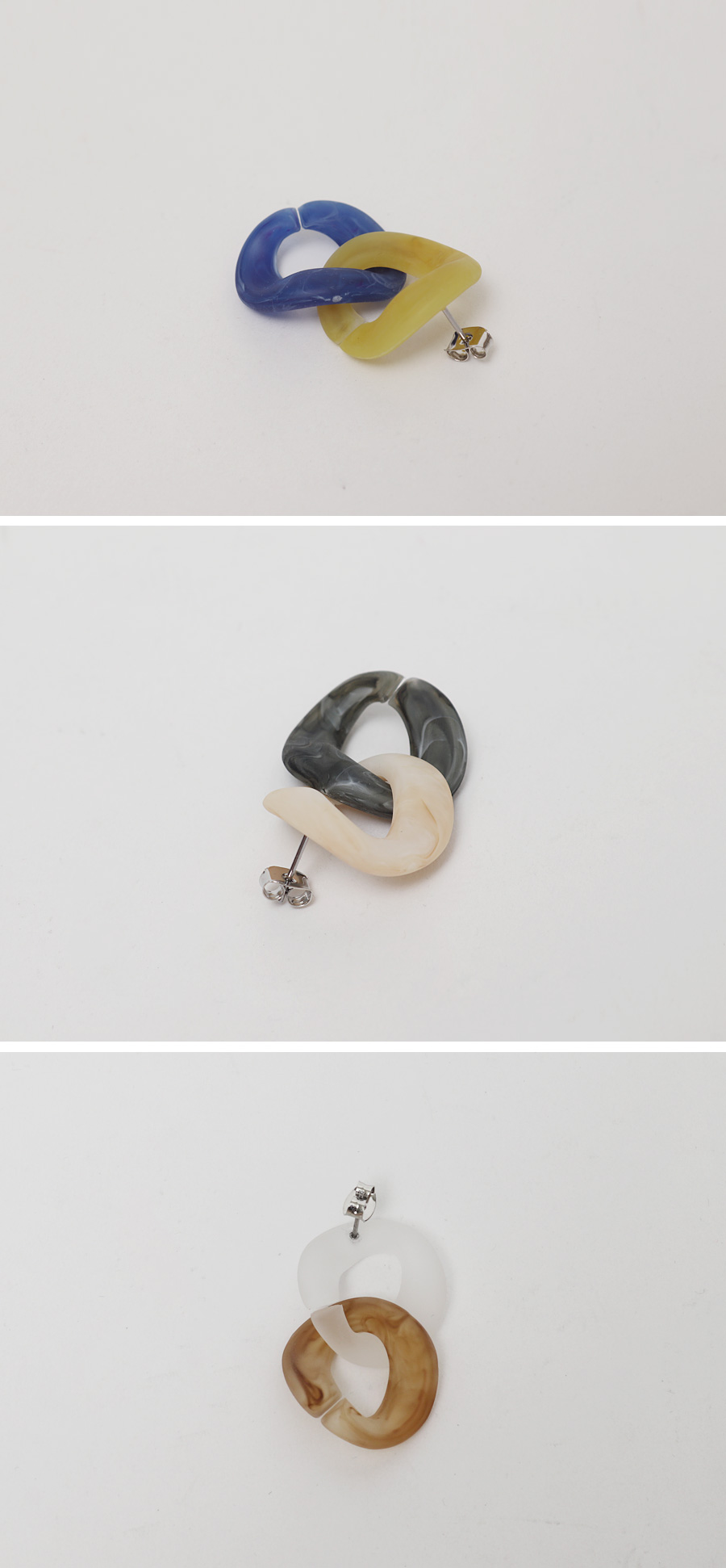 Two color marble earring_N
