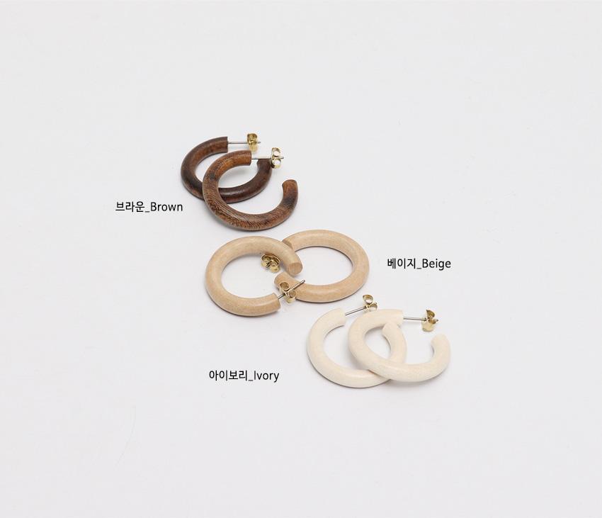 Wood simple earring_W