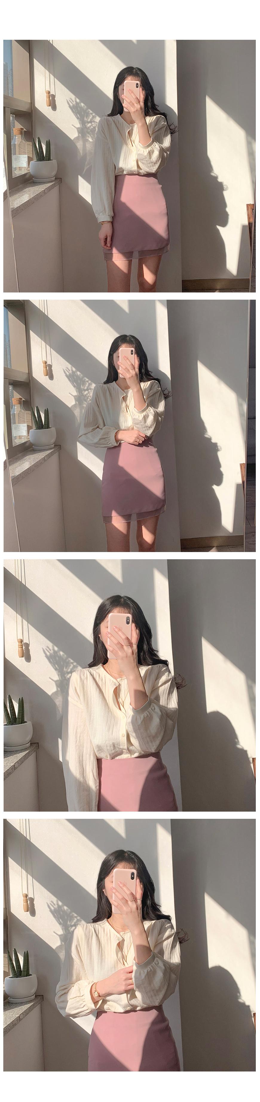 Spring half open blouse 2color
