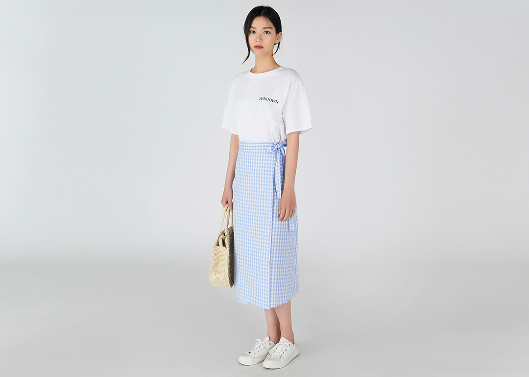 Cool Checked Wrap Skirt