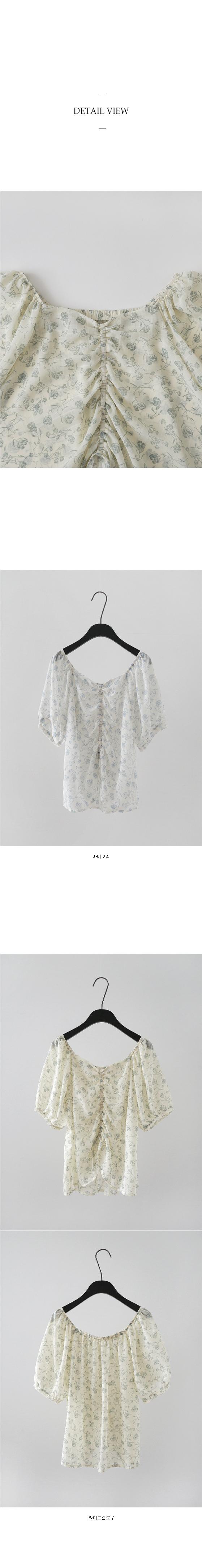 flower chiffon shirring blouse