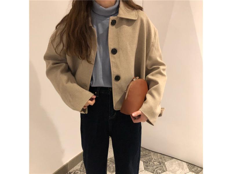 Coffee button wool collar jacket