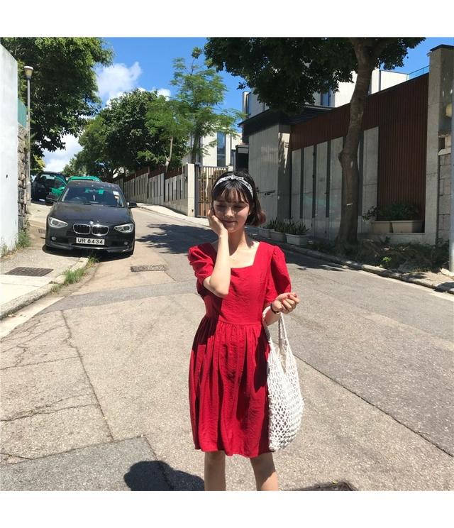 Sleeve Balloon Square Neck Ribbon Mini Dress