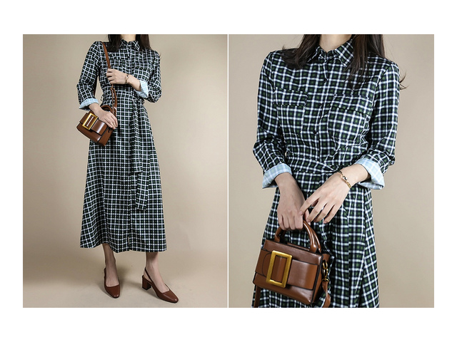 Check flare shirt long dress _op03064