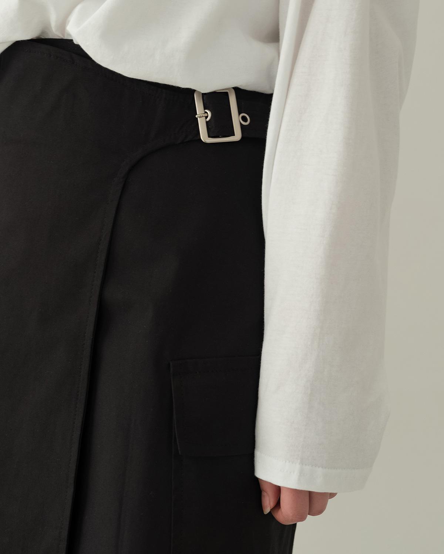 Buckle Point Wrap Long Skirt-sk