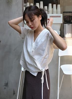 Linen Puff Wrap Blouse