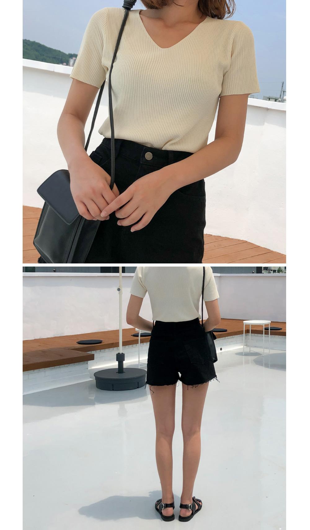 Slim Fit V-Neck Corrugated Half Knit-knit