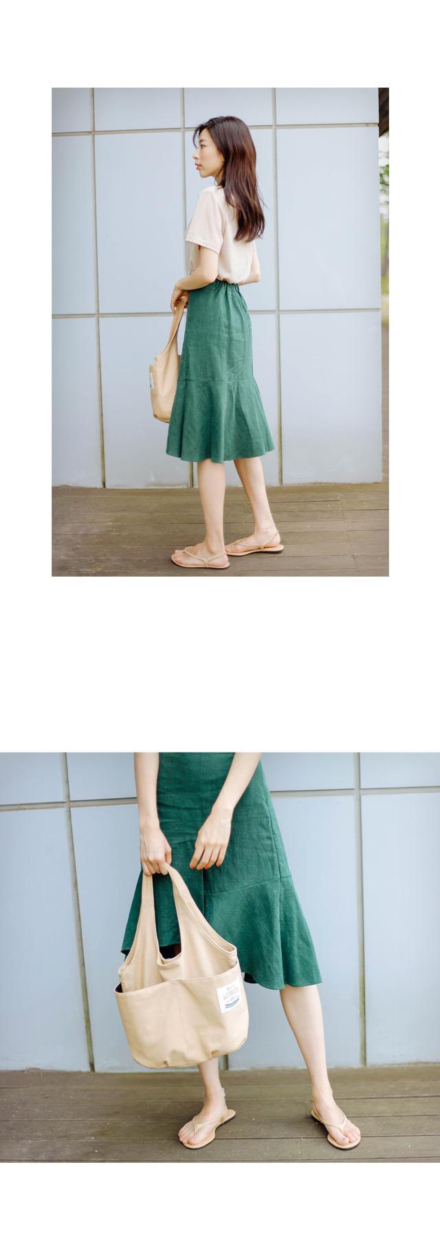 Linen undulation skirt