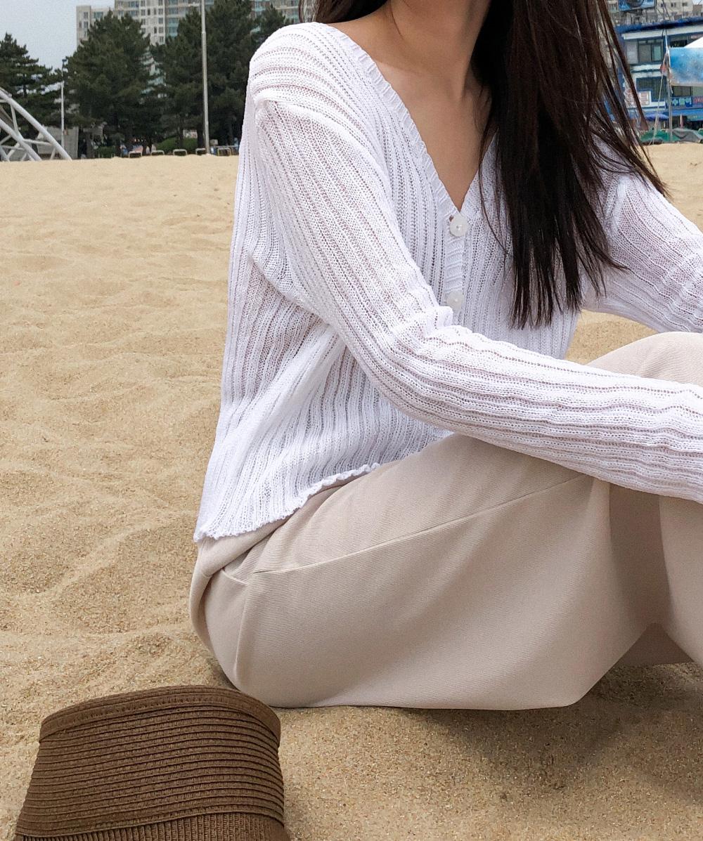 basic v-neck knit cardigan