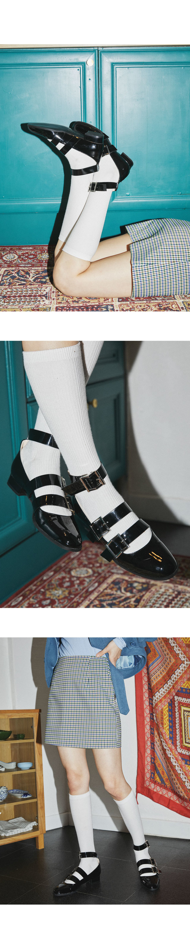 round enamel buckle shoes