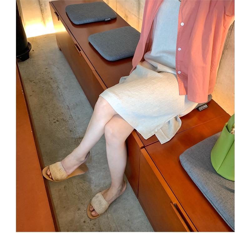 Rattan simple slide slipper_J