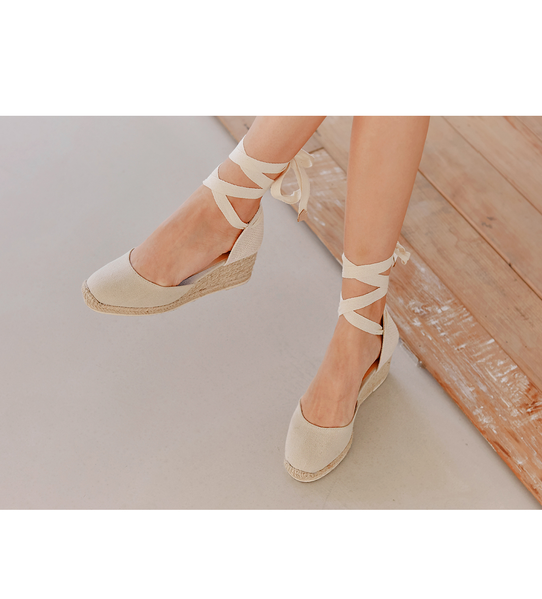 ESPADRILLE LACE-UP WEDGE HEEL