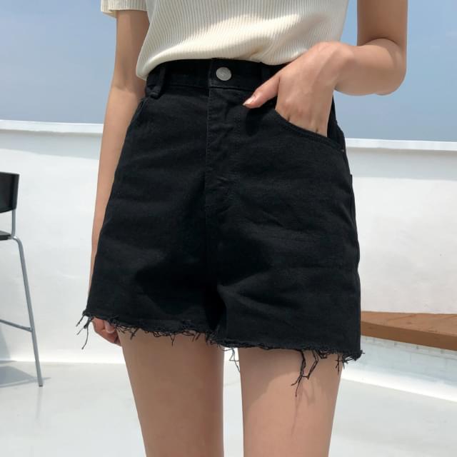 Vintage hem cutting denim short pants