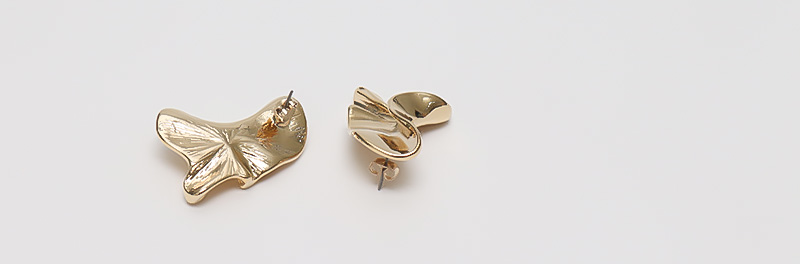Falling leaf gold earring_C (size : one>