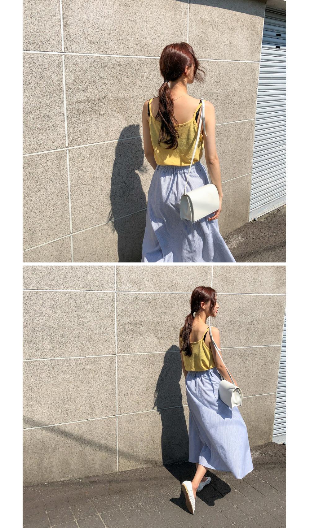 stripe flare long skirt